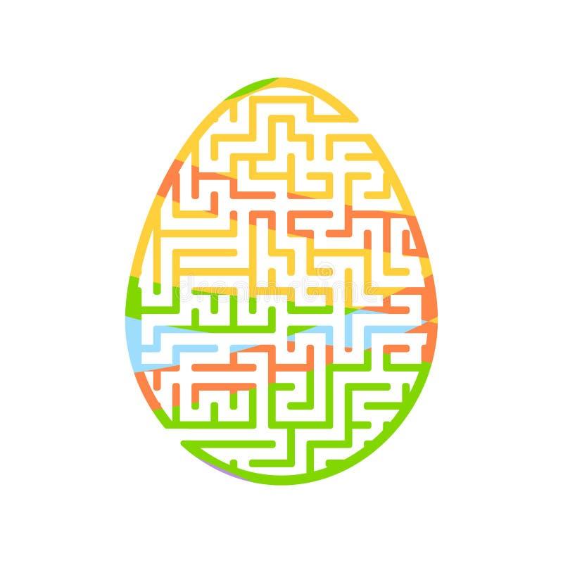 Labiryntu Easter jajko gemowi dzieciaki Łamigłówka dla dzieci Kreskówka styl Labitynt zagadka kolor plażowej dziewczyny ilustracy royalty ilustracja