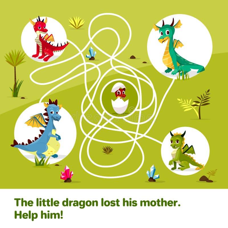 Labiryntu labityntu dzieci kreskówki gemowa ilustracja smoki pomaga znajdować sposób dziecka jajko na kołtuniastym sposobie ilustracja wektor