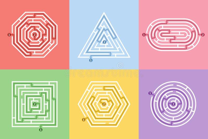 Labityntów różni kształty gra i labirynt zabawy łamigłówki set Labiryntu kwadrat, round, sześciokąt, owal i trójbok, intrygujemy  ilustracja wektor