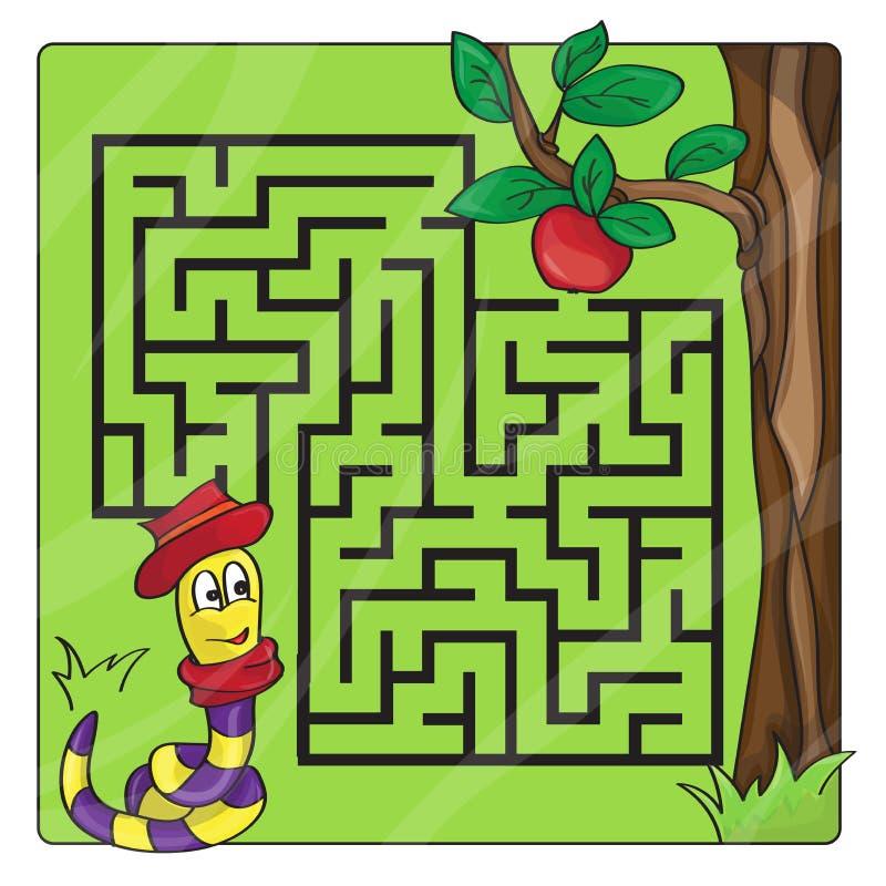 Labitynt, labirynt dla dzieciaków Hasłowy i wyjście - Pomaga dżdżownicy czołgać się jabłko ilustracji