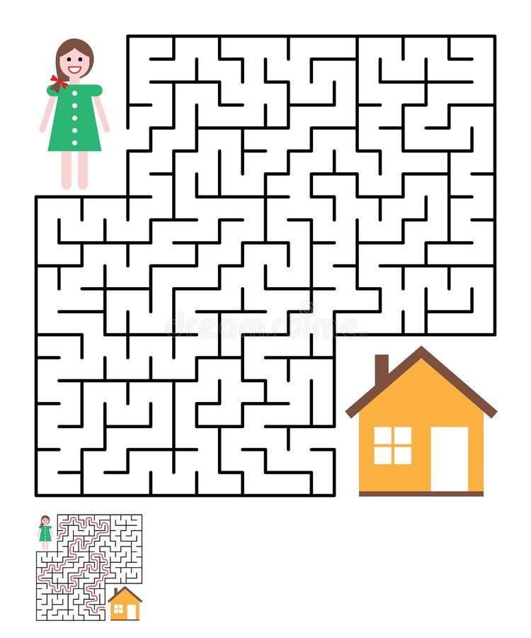 Labitynt, labirynt zagadka dla dzieciaków ilustracja wektor