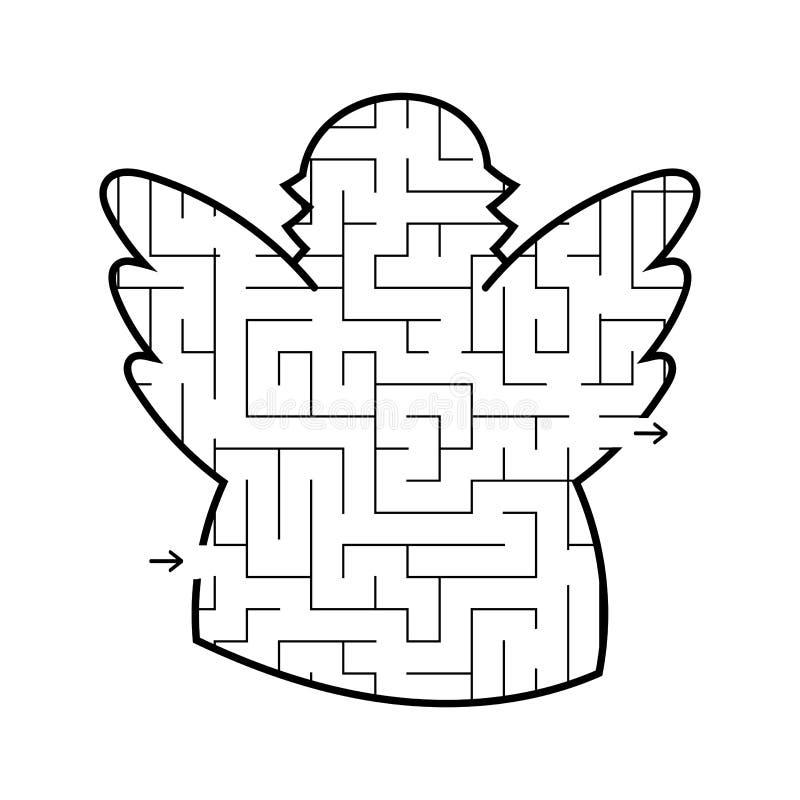 Labityntu anioł gemowi dzieciaki Łamigłówka dla dzieci Kreskówka styl Labirynt zagadka Czarna biała wektorowa ilustracja ilustracja wektor