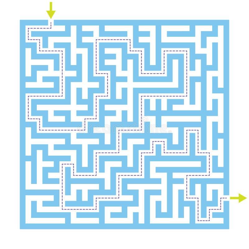 Labityntu labiryntu gra z rozwiązaniem ilustracja wektor