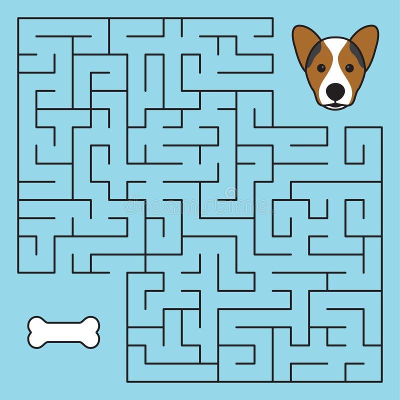 Labityntu labiryntu gra z rozwiązaniem Pomoc pies ilustracji