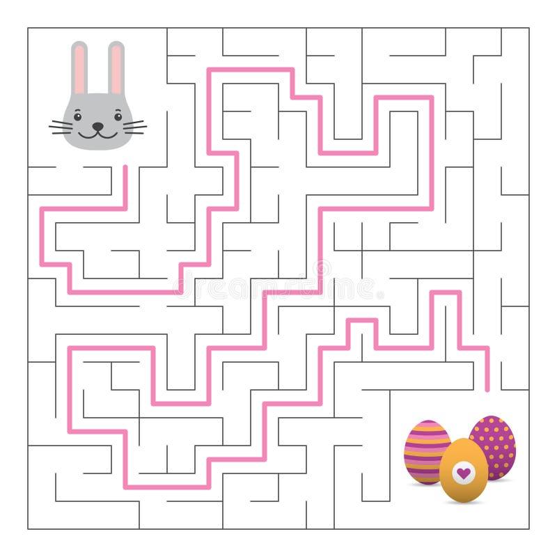 Labityntu labiryntu gra z rozwiązaniem Wielkanocna zabawa ilustracji