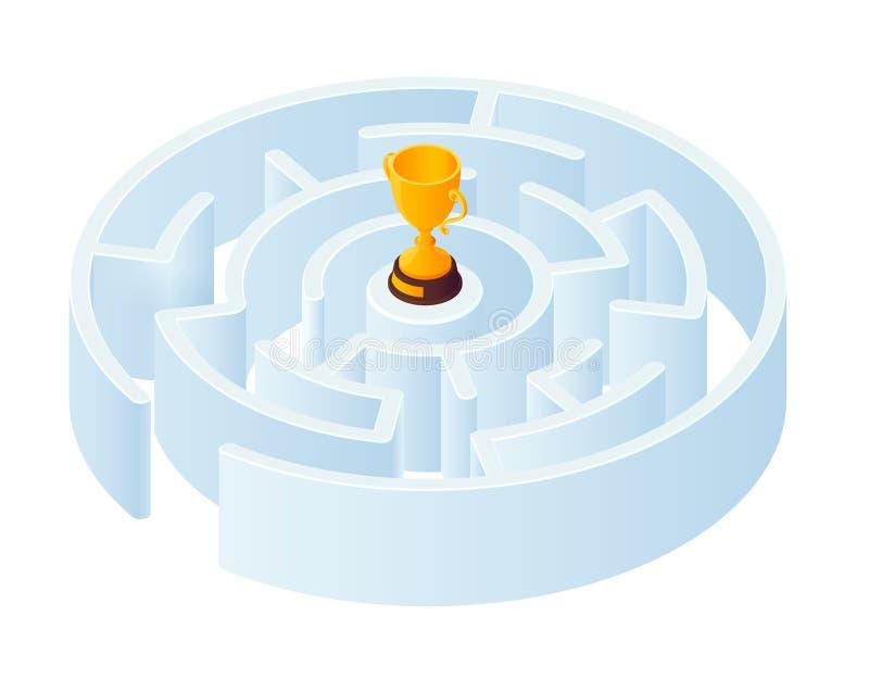Labityntu labiryntu symbol 3d isometric kształt Round labitynt na białym tle z złotą zwycięzca filiżanką przy centrum ilustracja wektor