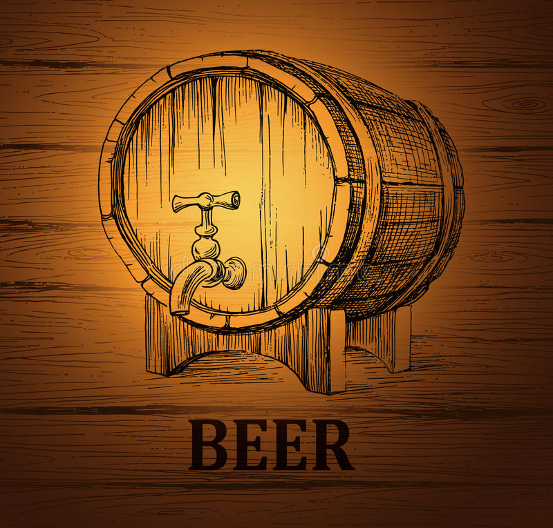 lable的啤酒小桶,包裹 木葡萄酒 库存例证