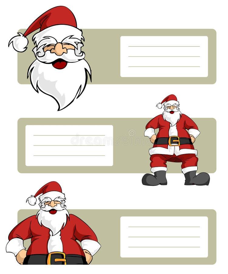 Lables do caráter de Papai Noel ilustração stock