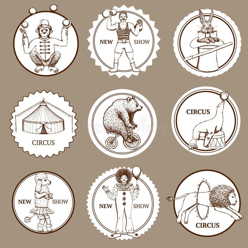 Lables et logotypes de cirque de croquis illustration libre de droits