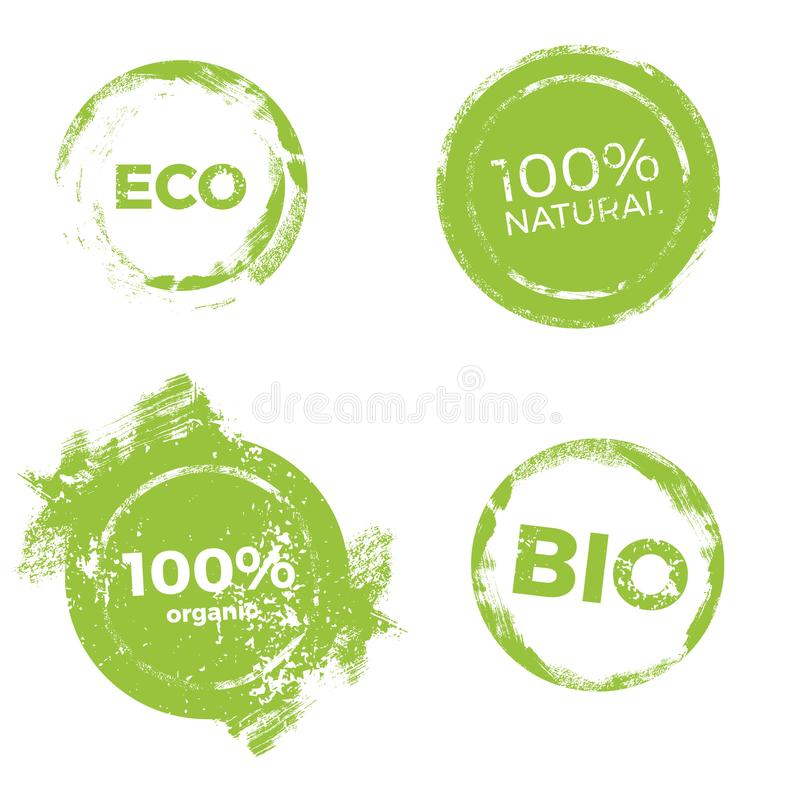 Lables för naturprodukter stock illustrationer