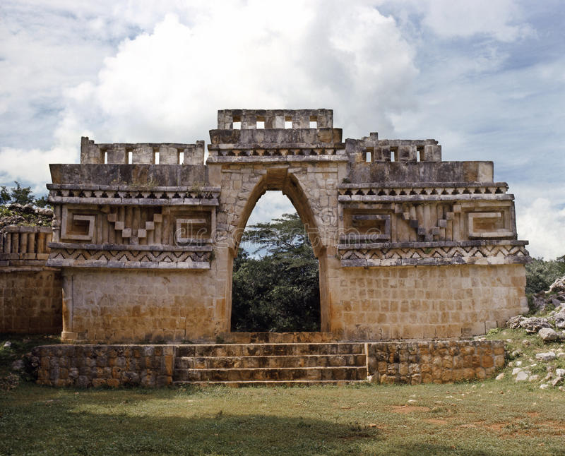 Labna Arch. The arch of Labna is one of the most remarkable works of the mayan architecture stock photo