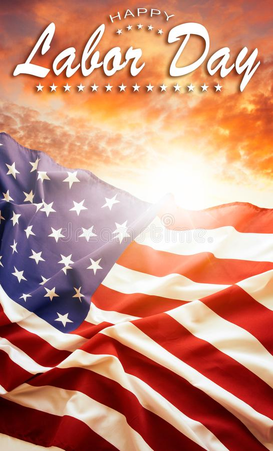 Labor day American flag. American flag in the sky. Labor day royalty free stock images