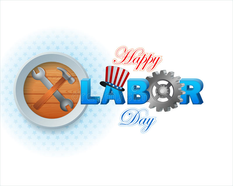 Labor Day background with hammer and wrench stock illustration