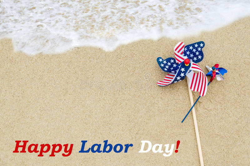 Labor day background on the beach stock images