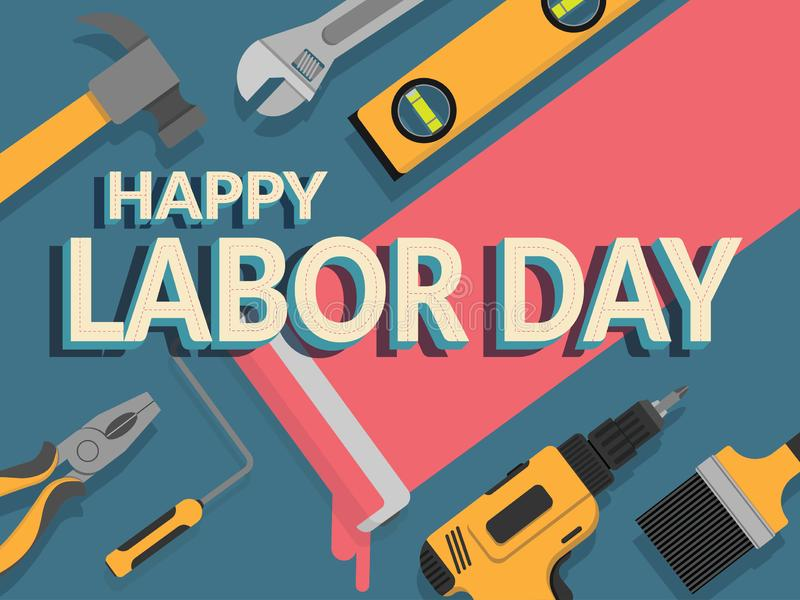 Labor day banner. design template. vector illustration. text happy labor day decorate with repair tools for background. stock illustration