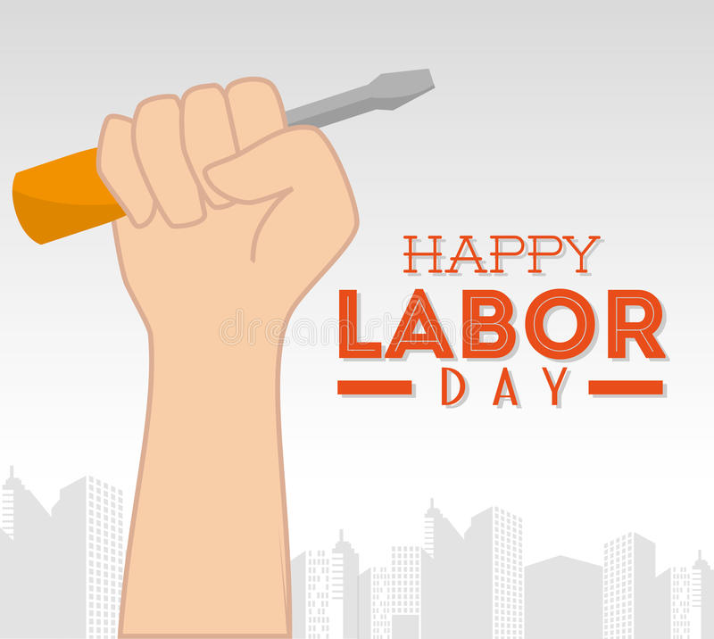 Labor day card design, vector illustration. stock illustration