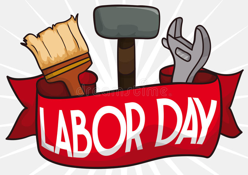 Labor Day Design with Hammer, Wrench and Brush behind Ribbon, Vector Illustration vector illustration