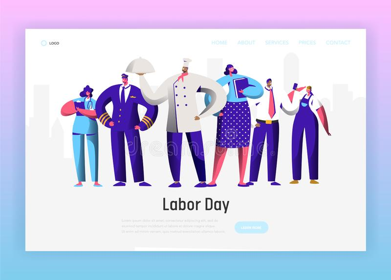 Labor Day Different Profession Character Group Landing Page. September Holiday National Celebration Man and Woman royalty free illustration