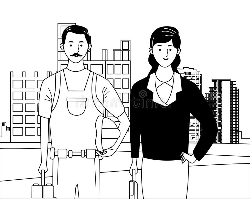 Labor day employment celebration cartoon. Labor day employment occupation national celebration, builder with executive business woman workers in front city royalty free illustration