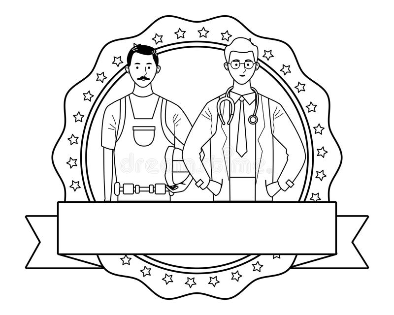 Labor day employment celebration cartoon. Labor day employment occupation national celebration,builder man with doctor, round icon with ribbon cartoon vector vector illustration