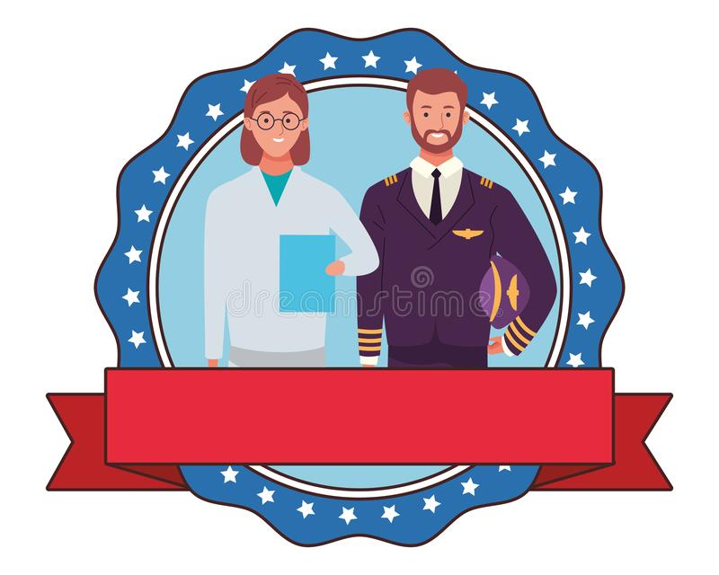 Labor day employment celebration cartoon. Labor day employment occupation national celebration, doctor woman with pilot round icon with ribbon cartoon vector stock illustration