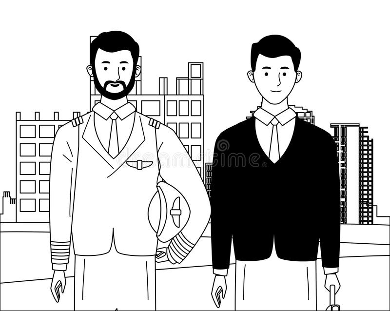Labor day employment celebration cartoon. Labor day employment occupation national celebration,pilot with executive business man workers in front city vector illustration