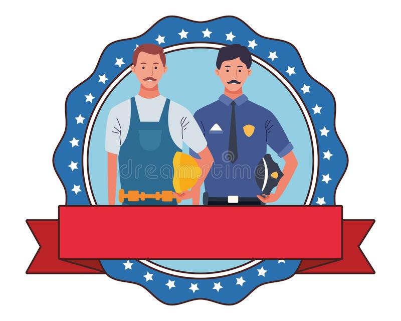 Labor day employment celebration cartoon. Labor day employment occupation national celebration, police with builder, round icon with ribbon cartoon vector royalty free illustration