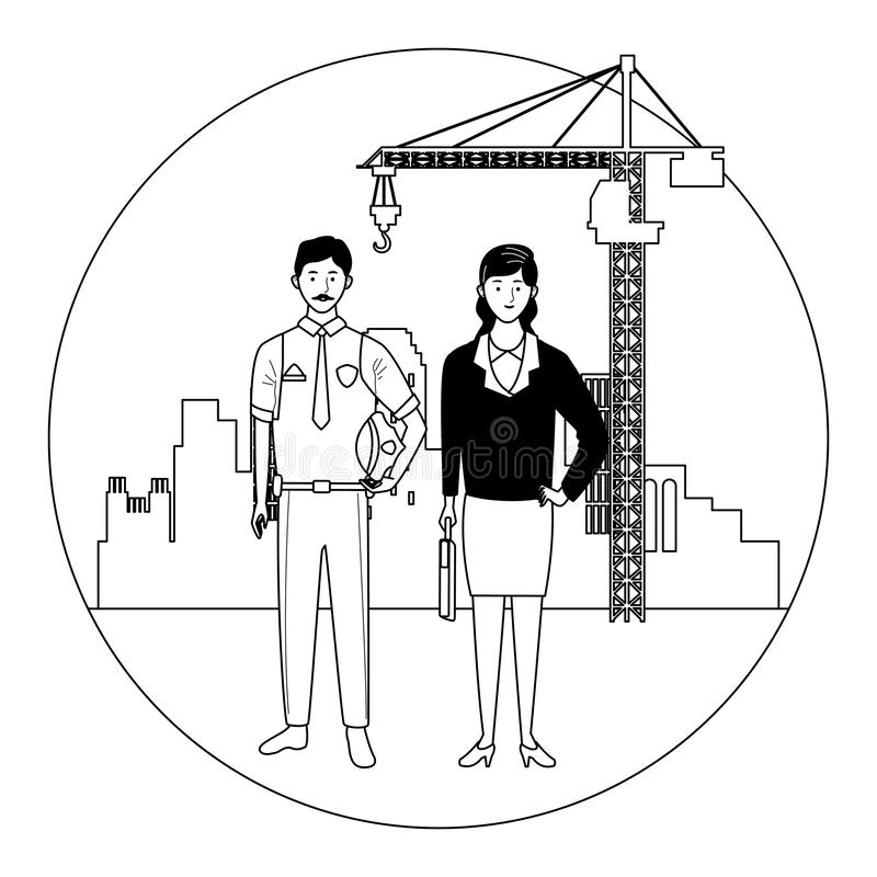 Labor day employment celebration cartoon. Labor day employment occupation national celebration,police man with business woman workers in front city construction vector illustration