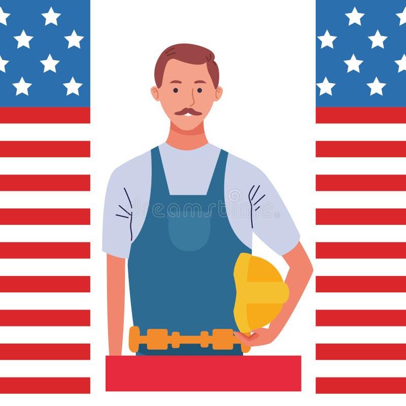 Labor day employment celebration cartoon. Labor day employment occupation national celebration,construction builder man cartoon vector illustration graphic royalty free illustration