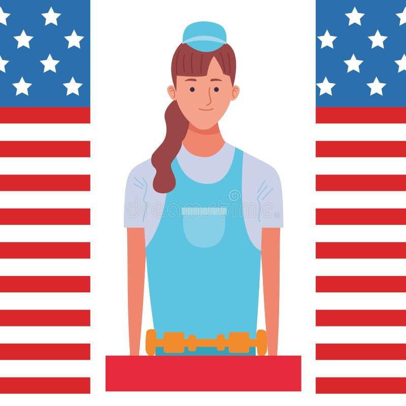Labor day employment celebration cartoon. Labor day employment occupation national celebration,construction builder woman cartoon vector illustration graphic royalty free illustration