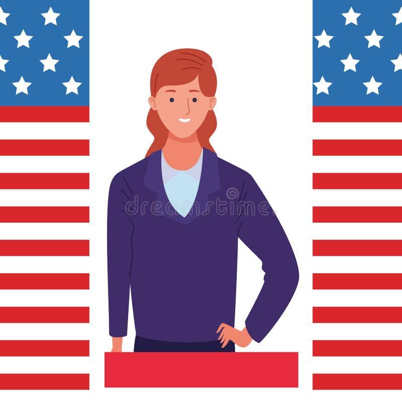 Labor day employment celebration cartoon. Labor day employment occupation national celebration, executive business woman cartoon vector illustration graphic stock illustration