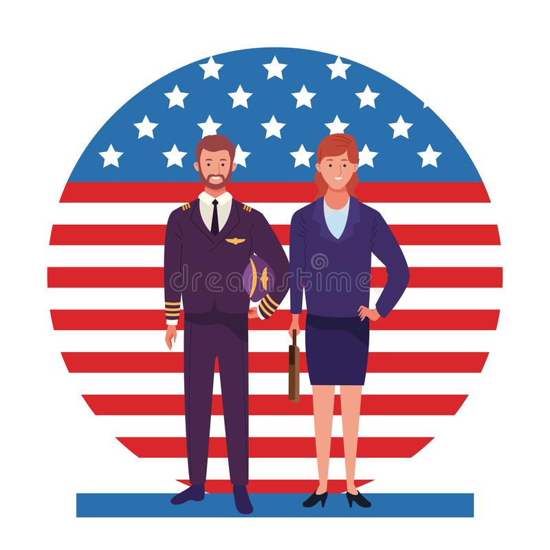 Labor day employment celebration cartoon. Labor day employment occupation national celebration, pilot with business woman workers in front american united states vector illustration
