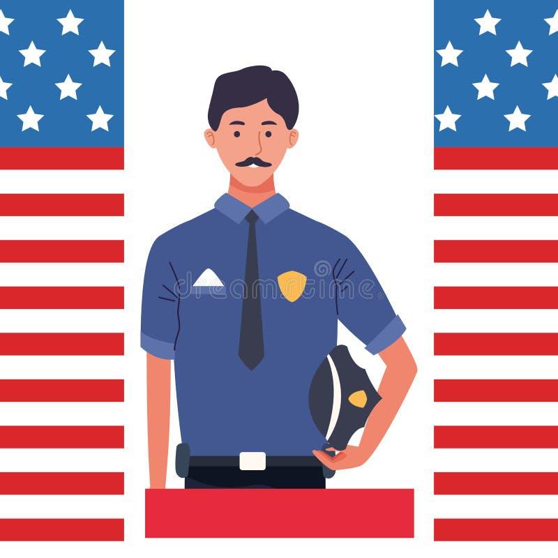 Labor day employment celebration cartoon. Labor day employment occupation national celebration,police man cartoon vector illustration graphic design vector illustration