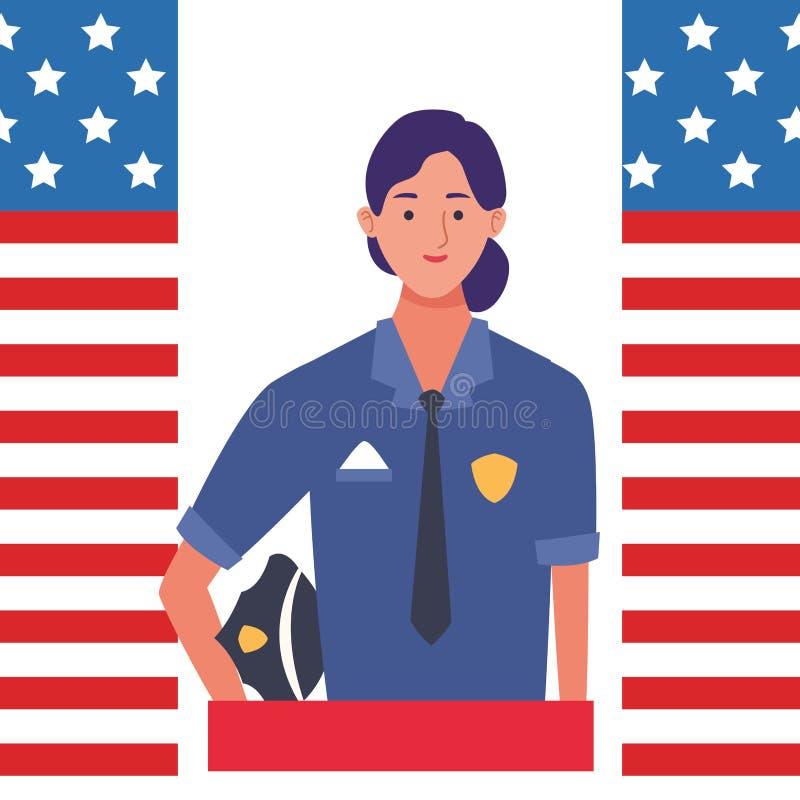 Labor day employment celebration cartoon. Labor day employment occupation national celebration,police woman cartoon vector illustration graphic design vector illustration