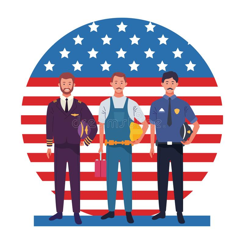 Labor day employment celebration cartoon. Labor day employment occupation national celebration professionals workers in front american united states flag cartoon vector illustration