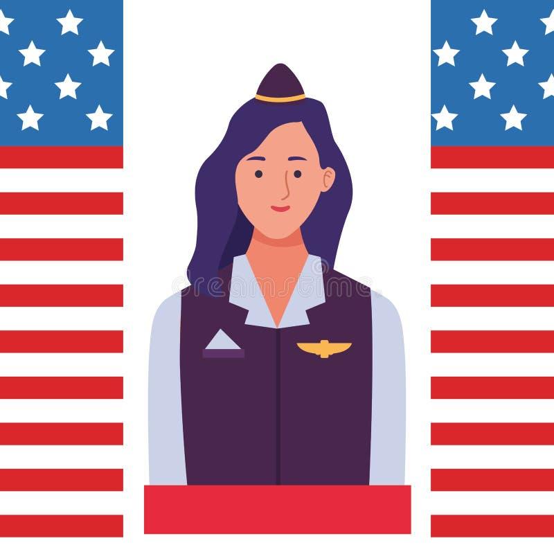 Labor day employment celebration cartoon. Labor day employment occupation national celebration,stewardess woman cartoon vector illustration graphic design vector illustration