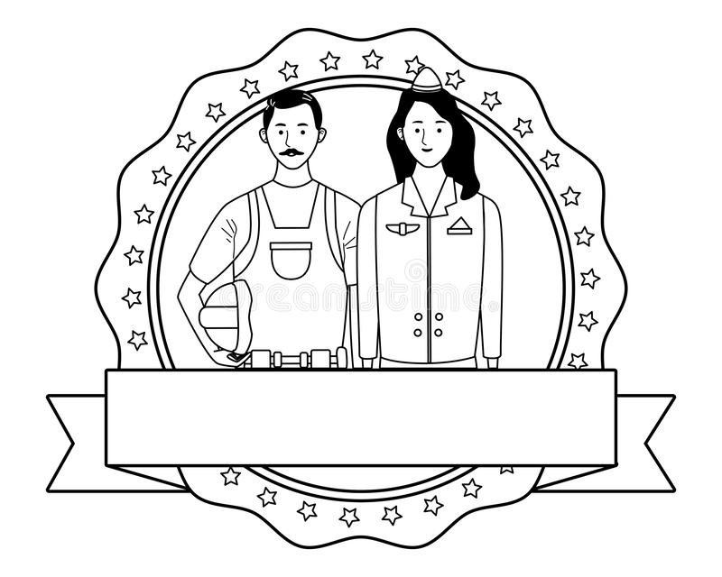 Labor day employment celebration cartoon. Labor day employment occupation national celebration,builder man with stewardess, round icon with ribbon cartoon vector stock illustration