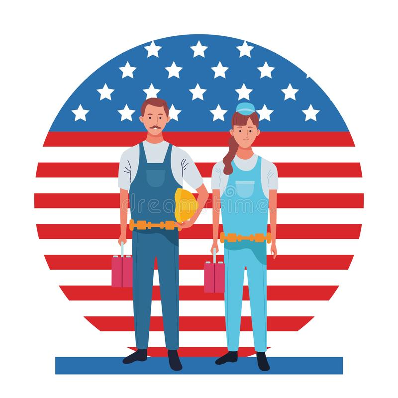Labor day employment celebration cartoon. Labor day employment occupation national celebration, builders workers in front american united states flag cartoon stock illustration