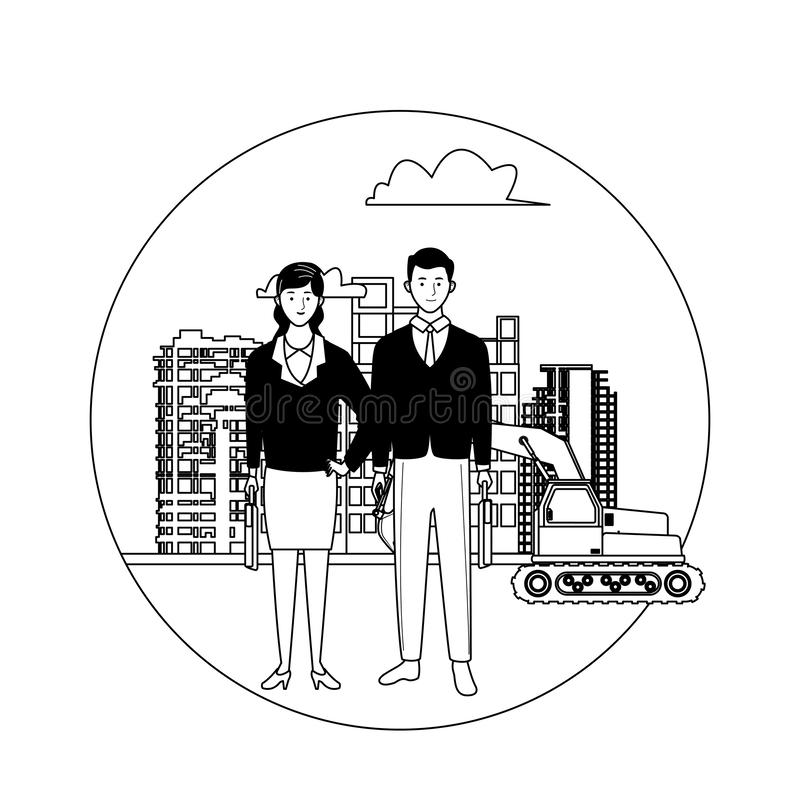 Labor day employment celebration cartoon. Labor day employment occupation national celebration,business woman with business man colleagues workers in front city vector illustration