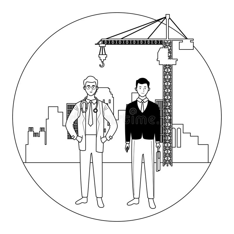 Labor day employment celebration cartoon. Labor day employment occupation national celebration,doctor with business man workers in front city construction view vector illustration