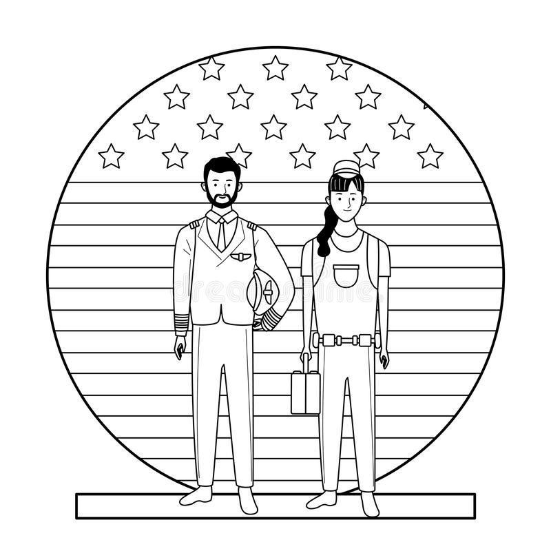 Labor day employment celebration cartoon. Labor day employment occupation national celebration, pilot with builder woman workers in front american united states vector illustration