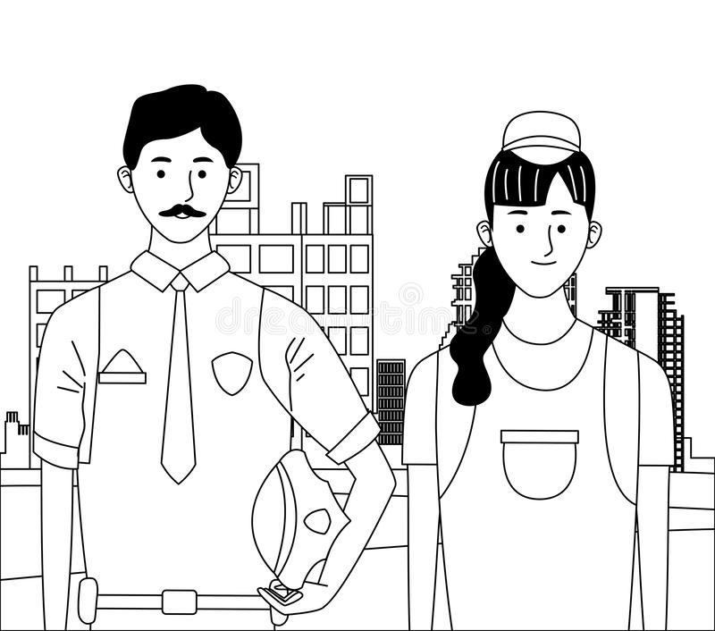 Labor day employment celebration cartoon. Labor day employment occupation national celebration,police man with builder woman workers in front city construction royalty free illustration