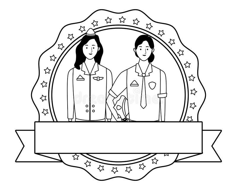 Labor day employment celebration cartoon. Labor day employment occupation national celebration, police and stewardess women, round icon with ribbon cartoon vector illustration