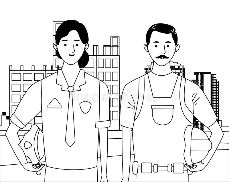 Labor day employment celebration cartoon. Labor day employment occupation national celebration,police woman with builder man workers in front city construction vector illustration