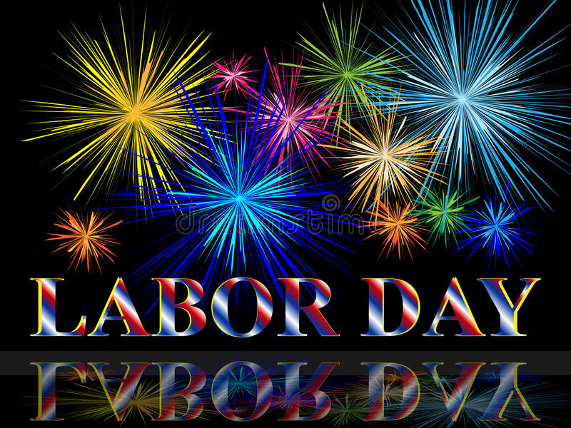 Labor day with fireworks royalty free illustration