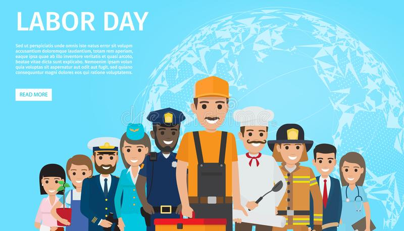 Labor Day Flat Vector Web Banner with Professions royalty free illustration