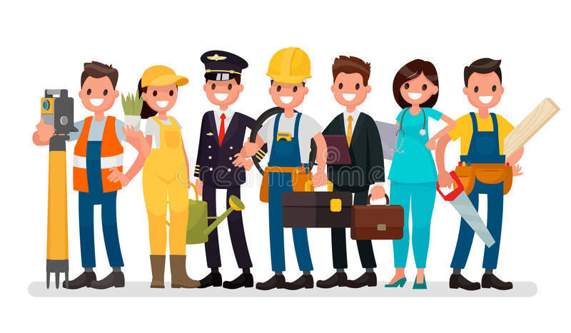Labor Day. A group of people of different professions on a white royalty free illustration