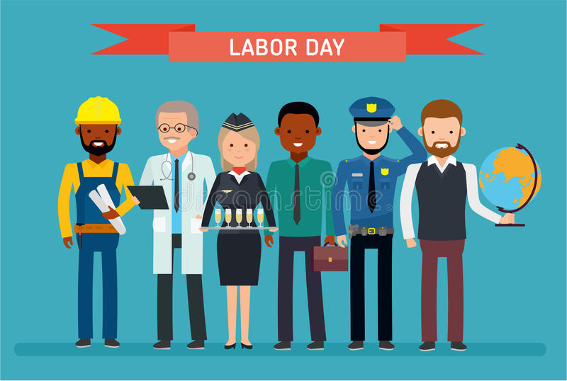 Labor Day. A group of people of different professions on a white background. royalty free illustration
