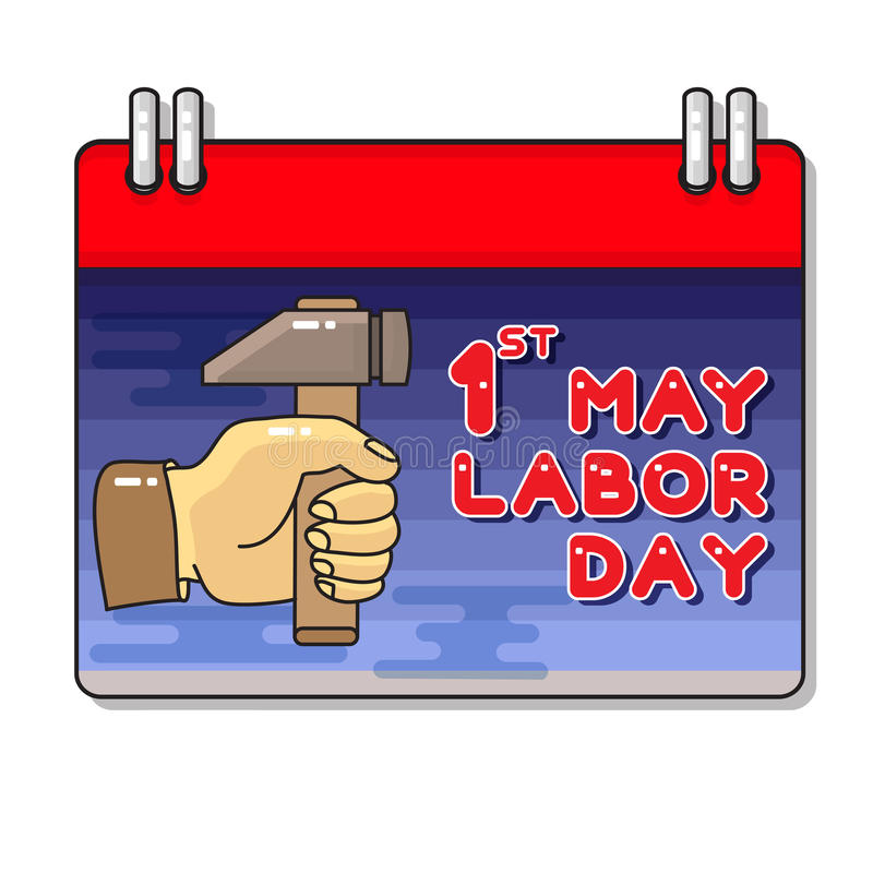 Labor Day. Hand and hammer. Vector Cartoon greeting card royalty free illustration