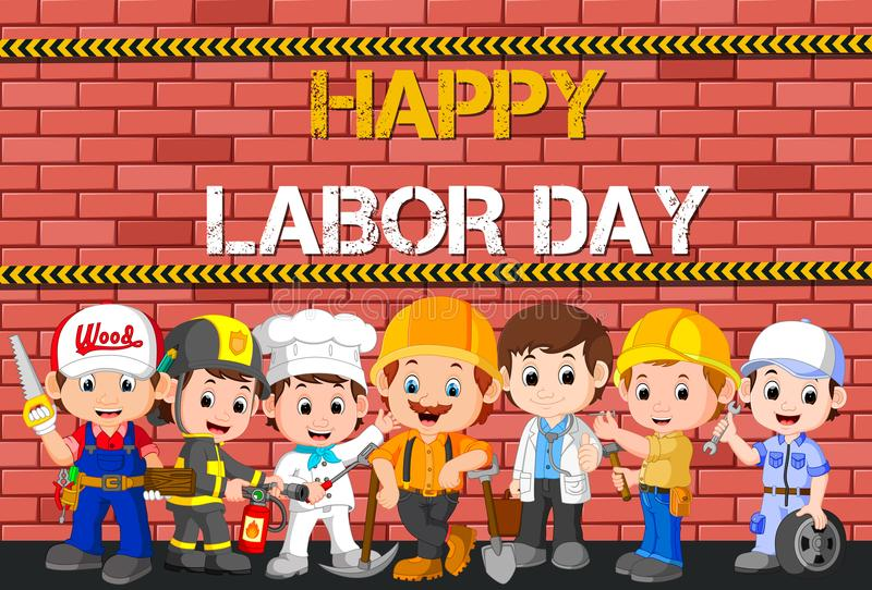 Labor day with people occupation difference vector illustration